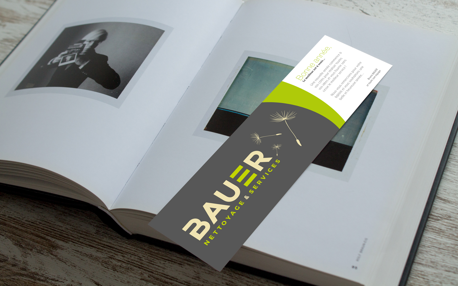 Carte de vœux Bauer Nettoyage et services « façon Marque-Page »