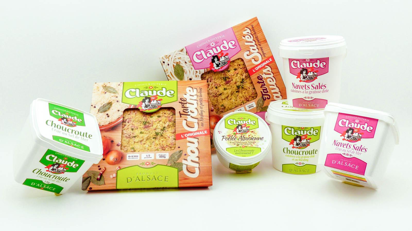 Packaging des différentes gammes de la Choucrouterie Claude
